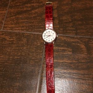 Timex watch with red leather straps